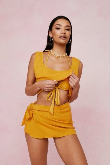 Mustard Chiffon Cover Up Top and Mini Skirt Set