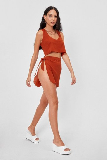Rust Chiffon Cover Up Top and Mini Skirt Set