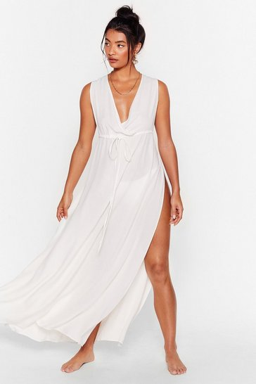 Cream Water You Waitin' For Cover-Up Maxi Dress