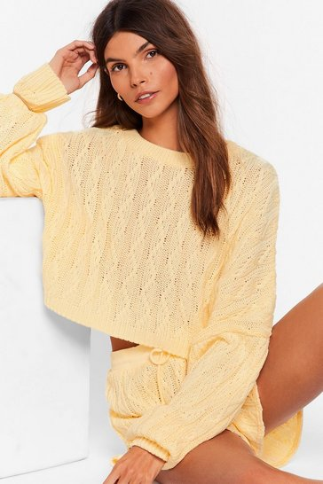 Lemon Got Cable Knit Sweater and Shorts Lounge Set