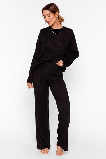 Black Ribbed Sweater and Pants Lounge Set