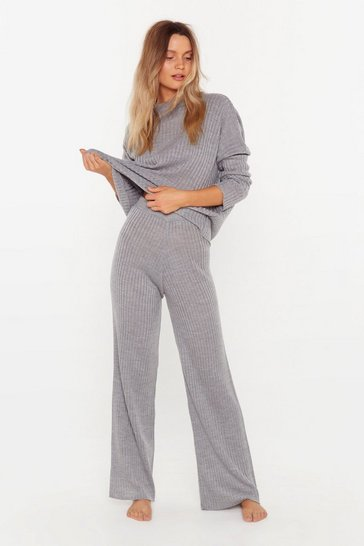 Grey Ribbed Jumper and Trousers Lounge Set