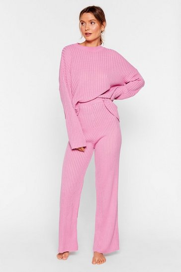 Pink Take Knit Off Sweater and Pants Lounge Set
