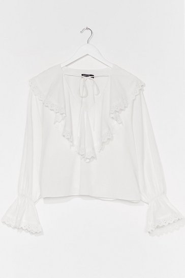 White Collar My Name Broderie Anglaise Ruffle Blouse