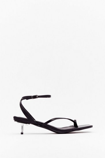 Black Got Toe Be You Faux Leather Strappy Sandals