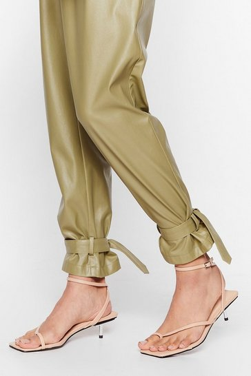 Nude Got Toe Be You Faux Leather Strappy Sandals