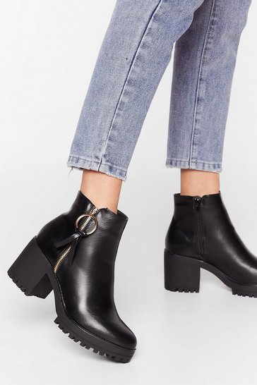 Black Spin Me Right Round Faux Leather Heeled Boots