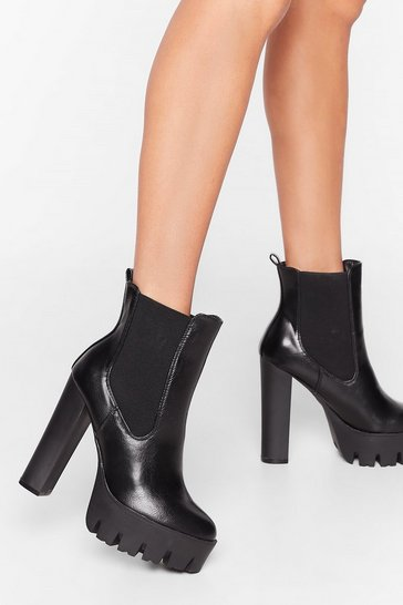Black Way You Make Me Heel Faux Leather Chelsea Boots