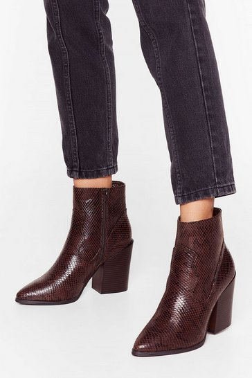 Brown Snake Amends Faux Leather Pointed Boots
