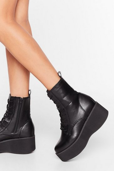 Black On Your Feet Faux Leather Lace-Up Boots