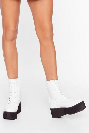 White On Your Feet Faux Leather Lace-Up Boots