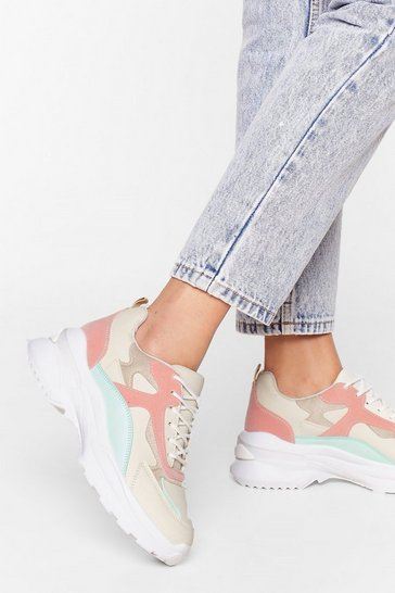 Beige Heart and Sole Chunky Colorblock Sneakers