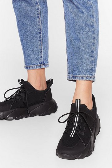 Black Stop Stripe Where You Are Chunky Sneakers