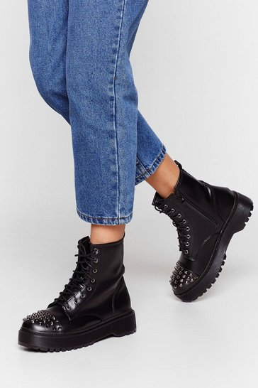 Black We Stud Like Faux Leather Biker Boots