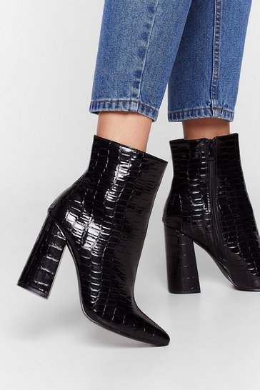 Black Croc Draggin' Your Feet Heeled Ankle Boots