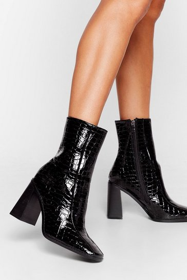 Black Croc Flare Heeled Ankle Boots