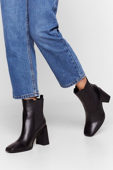 Black Don't You Flare Heeled Faux Leather Boots