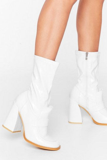 White Get Your Flare Time Faux Leather Sock Boots