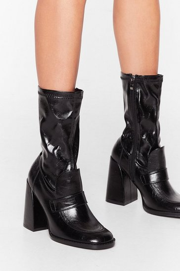 Black Get Your Flare Time Faux Leather Sock Boots