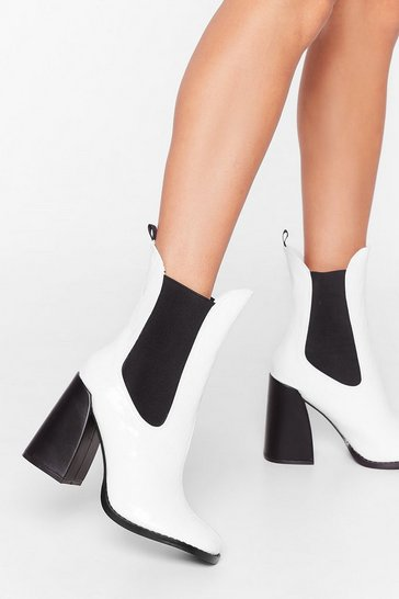 White Croc Happening Faux Leather Heeled Boots