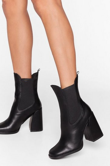 Black Living the High Life Faux Leather Heeled Boots