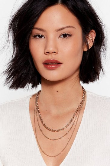 Gold We're Breakin' Three Layered Chain Necklace