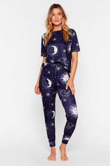 Navy Sun and Moon Pyjama Trousers Set