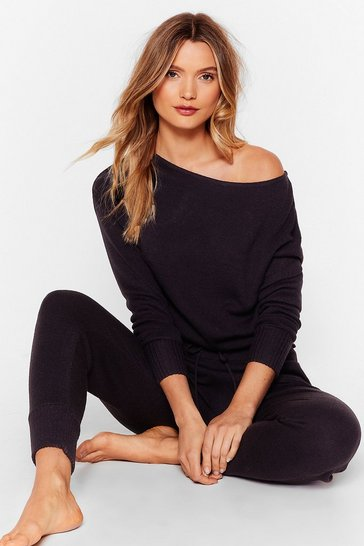 Black Weekend Loading Knit Jumper and Joggers Lounge Set