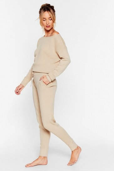 Stone Weekend Loading Knit Sweater and Jogger Lounge Set