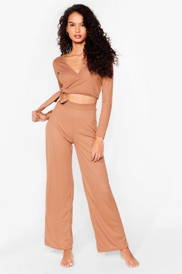 Camel That's a Wrap Wide-Leg Pants Lounge Set