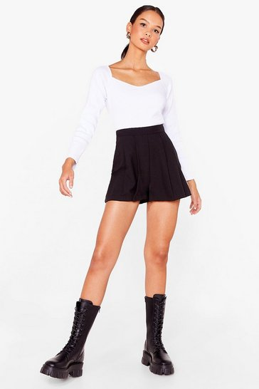 Black Tailored High Waisted Pleated Shorts