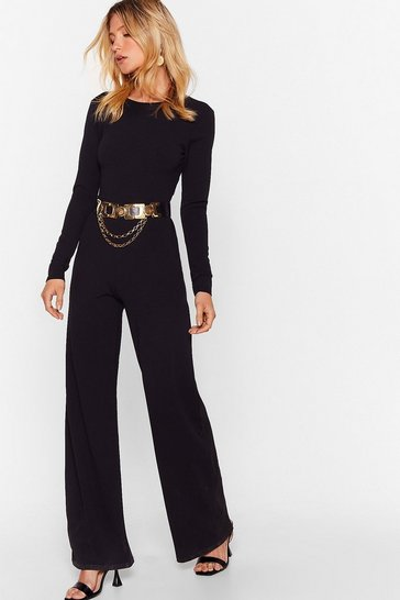 Black Get Back Criss Cross Wide-Leg Jumpsuit