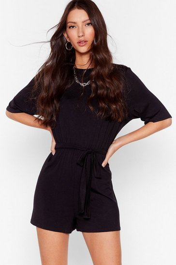 Black In One Go Belted Relaxed Romper