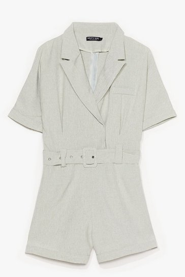 Sage Belted in the Sun Tailored Romper