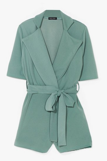 Sage  Well Suited Plunging Belted Romper