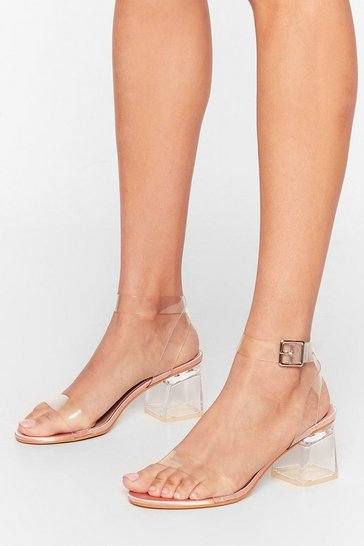 Champagne Clear the Air Low Satin Heels