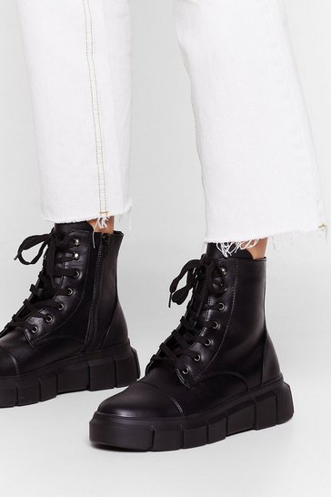 Black Cleat It Real Faux Leather Lace-Up Boots