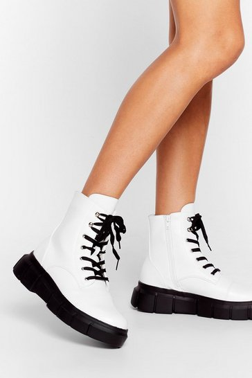 White Cleat It Real Faux Leather Lace-Up Boots