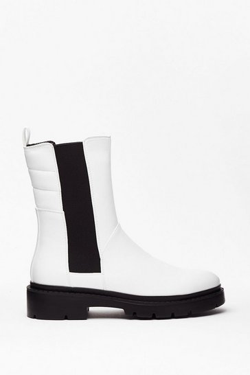 White PU Long Gusset Chelsea Boot