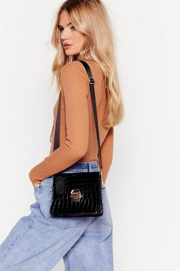 Black WANT Croc Looking Back Crossbody Bag