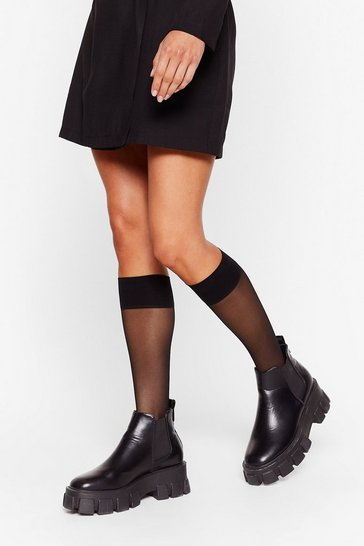 Black Livin' On the Edge Mesh Knee-High Socks