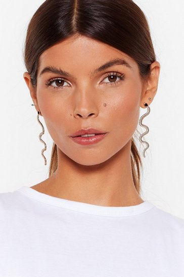 Gold Double Standards Snake Drop Earrings