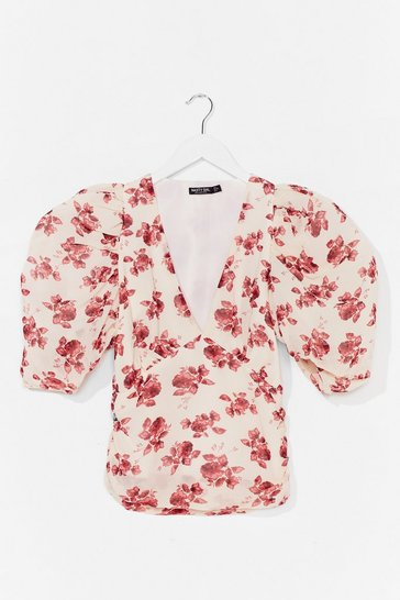 Cream Hey Buddy Floral Puff Sleeve Blouse