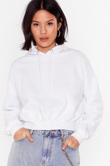 White Cropped Little Snug Riding Hoodie
