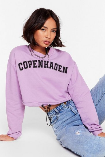 Lilac Take Me to Copenhagen Cropped Graphic Sweatshirt
