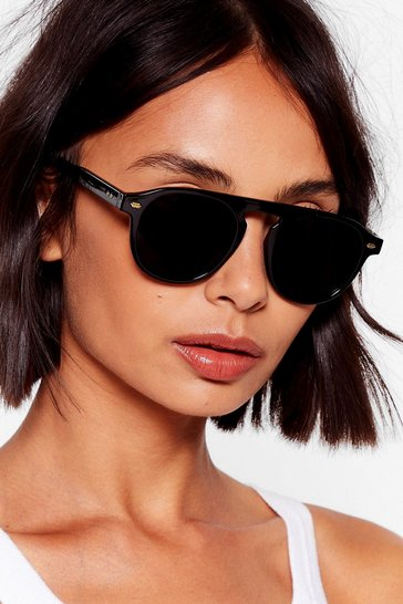 Black You Spin Me Round Tinted Aviator Sunglasses