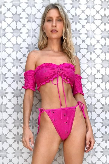 Magenta We Sea Your Point Off-the-Shoulder Bikini Set