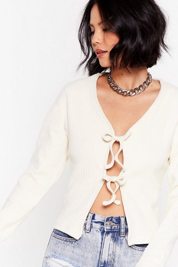 Cream All Ties On You Ribbed Cardigan