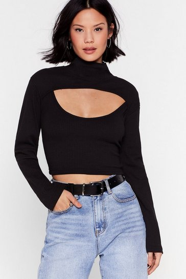 Black Check This Cut-Out High Neck Crop Top