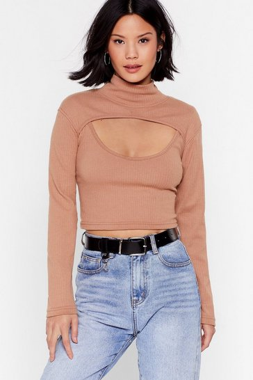 Camel Check This Cut-Out High Neck Crop Top